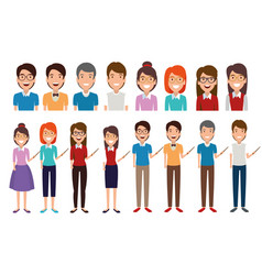 young people avatars characters vector image
