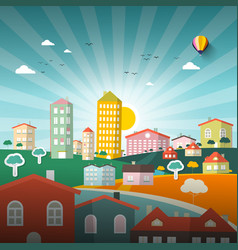 abstract city flat design town vector image vector image