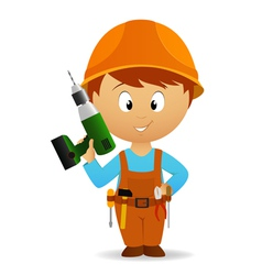 cartoon handyman vector image vector image