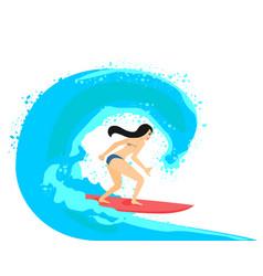 ilustration of beautiful brunette surfer vector image