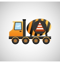 Truck mixer concrete warning icon graphic vector