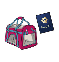 travel with cats dogs - transportation bag vector image vector image