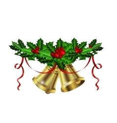 Christmas silver bells holly sprig and berries vector