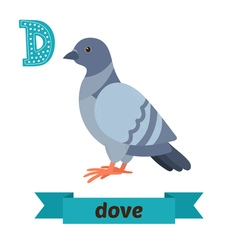 Dove D letter Cute children animal alphabet in vector image