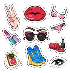 Fashion Patch Comic Style Set vector image vector image