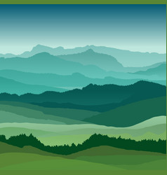 flat landscape beautiful hills vector image vector image