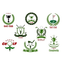 Golf club and tournament sport icons vector image