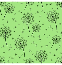 Green seamless pattern with black dandelions vector image vector image