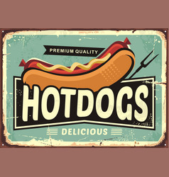 hot dogs vintage tin sign vector image vector image