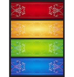 modern banners with floral ornament illus vector image