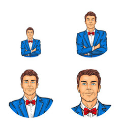 pop art avatar icon of handsome man in vector image