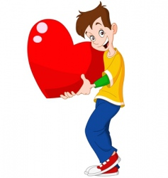 teenager holding heart valentine vector image vector image