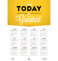 wall calendar poster for 2018 year week starts on vector image