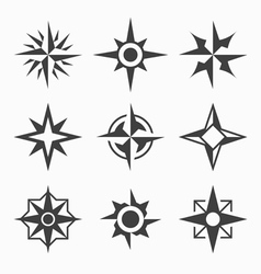 Wind rose icons vector image vector image