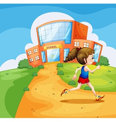 A girl running near the school vector image vector image