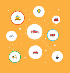 Flat icons luxury auto boat automobile and other vector