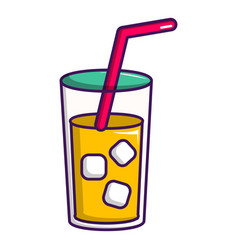 glass of coctail with straw icon cartoon style vector image