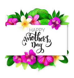 mothers day greetings card with hand vector image