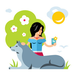 selfie girl with a dog flat style colorful vector image