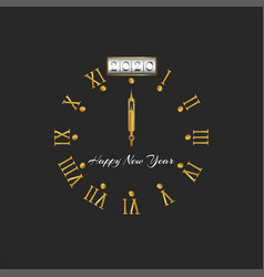 2020 happy new year logo golden old style clock vector image