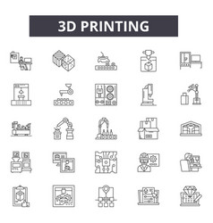 3d printing line icons editable stroke signs vector