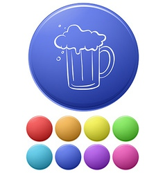 A big circle with an image of a beer vector