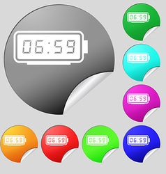 alarm clock icon sign Set of eight multi colored vector image