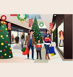 Asian family going shopping during christmas vector