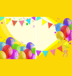 background with party flags and balloons vector image