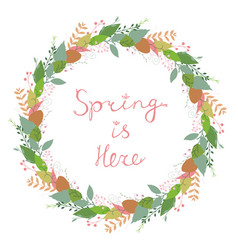 beautiful floral spring wreath on white vector image