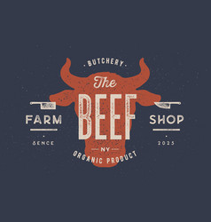 beef cow bull vintage typography lettering vector image