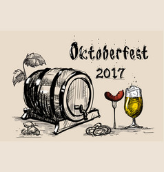 beer barrel glass with sausage sketch oktoberfest vector image