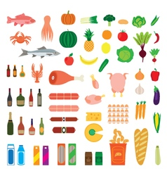 Big collection of food items vector image