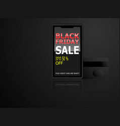 black friday sale advertising on smartphone vector image
