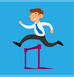 businessman jump over obstacle vector image