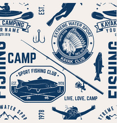 canoe kayak and fishing club seamless pattern vector image
