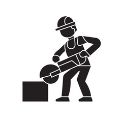 carpetner cutting wood black concept icon vector image