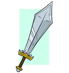 cartoon big steel sword icon vector image