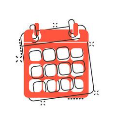 Cartoon calendar agenda icon in comic style vector