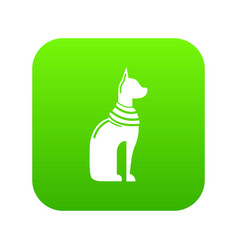 cat egypt icon green vector image