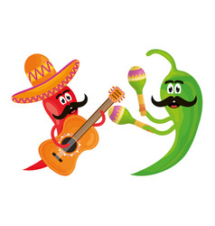 chilli peppers with instruments comics characters vector image