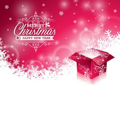 Christmas background with typographic design vector image