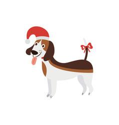 christmas beagle - cute cartoon dog wearing a vector image