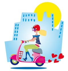 City girl on scooter vector