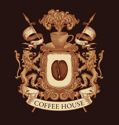 coat arms for coffee house in vintage style vector image