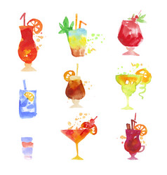 Cocktails set summer drinks colorful watercolor vector