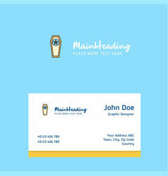 Coffin logo design with business card template vector