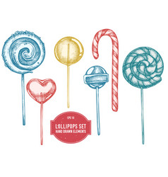 collection of hand drawn lollipoops vector image