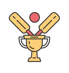 Cricket championship color icon sport competition vector