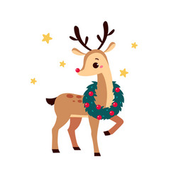 cute christmas fawn with wreath on neck merry vector image